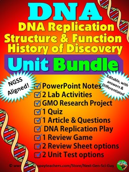 DNA Unit Bundle: Structure, Function, Replication, Discovery and Experiments