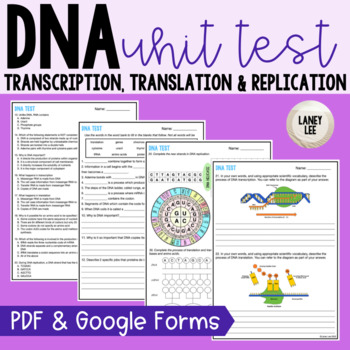 DNA Unit Test with Study Guide