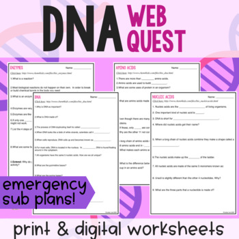 Emergency Sub Plans: DNA Webquest