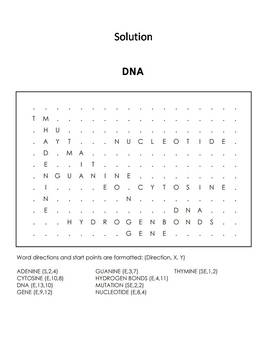 DNA Worksheet/ Word Search