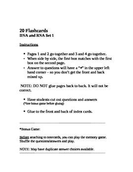 Biology:  20 DNA and RNA Flash Cards/Memory Game Set 1