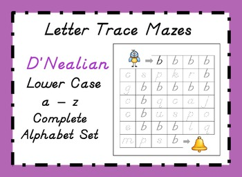 D'NEALIAN Letter Trace Mazes - Lower Case Alphabet Set a - z
