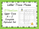 D'NEALIAN Letter Trace Mazes - Upper Case Alphabet Set A - Z
