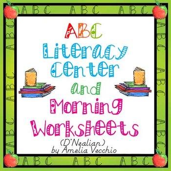 ABC Morning/Literacy Center Worksheets {D'Nealian}