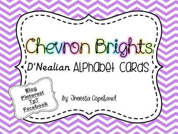 D'Nealian Alphabet Cards {Chevron Brights}