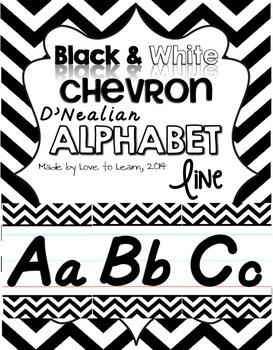D'Nealian Alphabet Line - Black & White Chevron