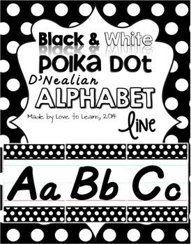 D'Nealian Alphabet Line - Black & White Polka Dot
