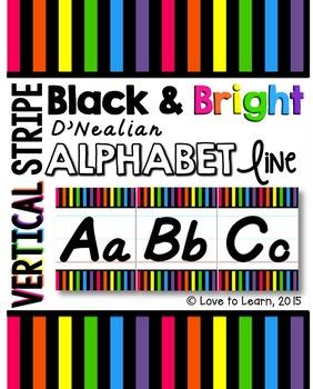 D'Nealian Alphabet Line - Bright & Black Vertical Stripes