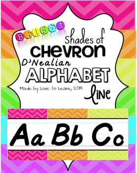 D'Nealian Alphabet Line - Bright Shades of Chevron