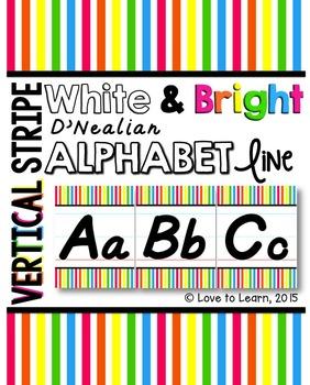 D'Nealian Alphabet Line - Bright & White Vertical Stripes