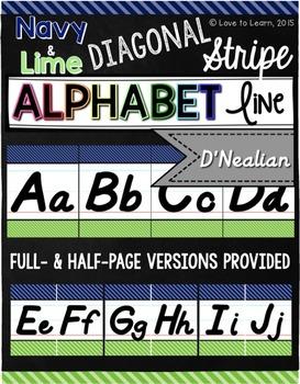 D'Nealian Alphabet Line - Navy & Lime Diagonal Stripe