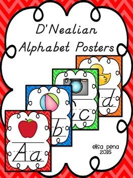 D'Nealian Alphabet Posters: Chevron
