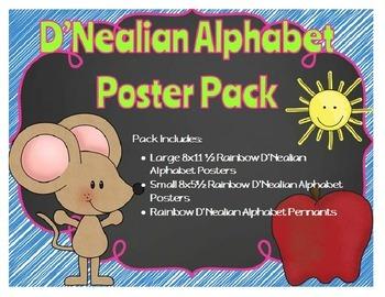 D'Nealian Alphabet Posters - Rainbow