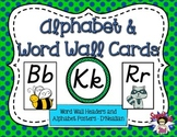 D'Nealian Alphabet Posters and Word Wall Headers Lime and Navy Dots