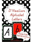 D'Nealian Alphabet Set with Black Boarder and White Polka Dots