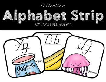 DNealian Alphabet Strip & Word Wall Headers
