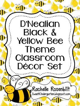 D'Nealian Black and Yellow Bee Theme Classroom Decor Set