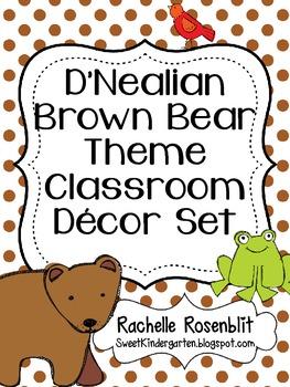 D'Nealian Brown Bear, Brown Bear Theme Classroom Decor Set