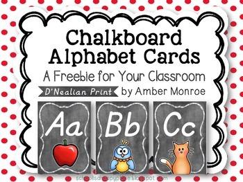 D'Nealian Chalkboard Alphabet Cards {A Freebie for Your Cl