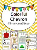 D'Nealian Colorful Chevron Classroom Decor and Organization Pack