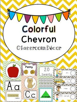 D'Nealian Colorful Chevron Classroom Decor and Organization Pack