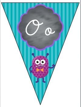 D'Nealian Cursive Alphabet Banner - Monster Themed
