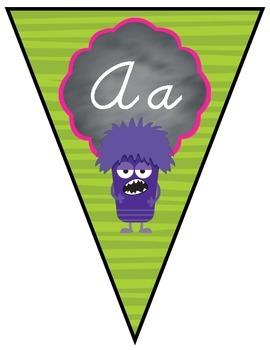 D'Nealian Cursive Alphabet Banner - All Monsters