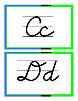 D'Nealian Cursive Alphabet - Blue & Green & White
