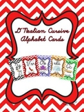 D'Nealian Cursive Alphabet Cards with Chevron background