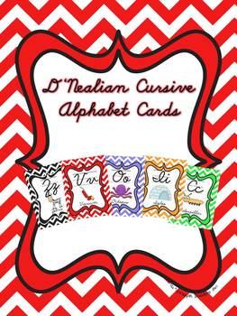 D'Nealian Cursive Alphabet Cards with Chevron background