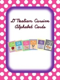 D'Nealian Cursive Alphabet Cards with Polka Dot background