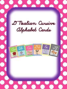 D'Nealian Cursive Alphabet Cards with Polka Dot background