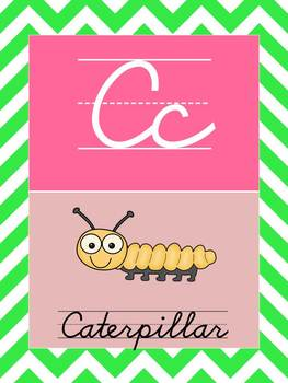 D'Nealian Cursive Alphabet Cards with pastel Chevron Background