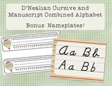 D'Nealian Cursive and Manuscript Combined Alphabet Line + bonus Nameplates