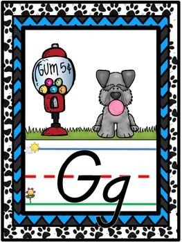 D'Nealian Dog Themed Alphabet Line {Classroom Decor} Black and Blue