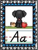 D'Nealian Dog Themed Alphabet Line {Classroom Decor} Black