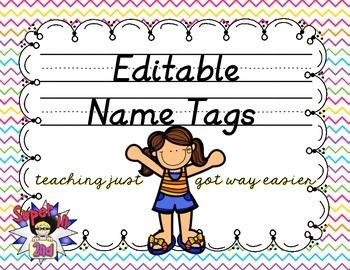 D'Nealian Editable Name Tags- Colorful Zig Zags (Chevron)