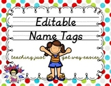 D'Nealian Editable Name Tags- Multi Dots