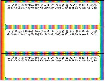 D'Nealian Editable Name Tags- Rainbow
