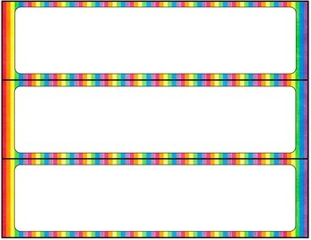 D'Nealian Editable Name Tags- Rainbow