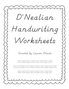 D'-Nealian manuscript and cursive writing sheets and guides (free ...