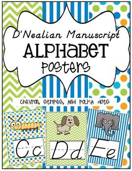 D'Nealian Manuscript Alphabet Posters ~ Chevron, Stripes, & Polka Dots