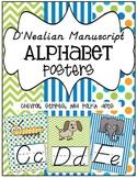 D'Nealian Manuscript Alphabet Posters ~ Chevron, Stripes,