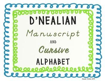 D'Nealian Manuscript and Cursive Alphabet: Blue and Green Theme