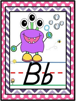 D'Nealian Monster Themed Alphabet Line {Classroom Decor}