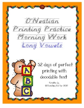 D'Nealian Printing Practice {Long Vowels}