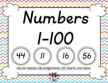 D'Nealian Numbers to 100 Colorful Chevron