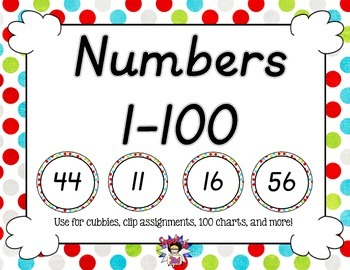 D'Nealian Numbers to 100 Multi Colored Dots