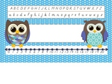 D'Nealian Owl Nametag with Number Line and Alphabet