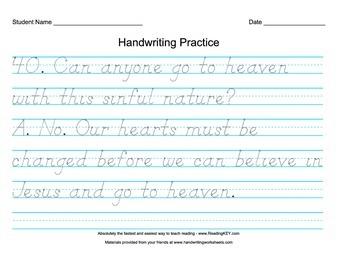 D'Nealian Practice Using Children's Catechism Part 2
